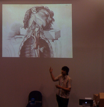 Ben speaking in front of corpse. Photo © Megan Smith